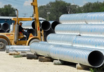 J&J Drainage Products offers corrugated steel pipe, 6 to 144 inches in diameter, and flow culvert with spiral rib.