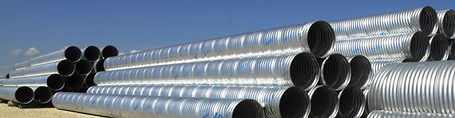 J&J Drainage Products corrugated pipe ranges in size from 6 to 144 inches in diameter.